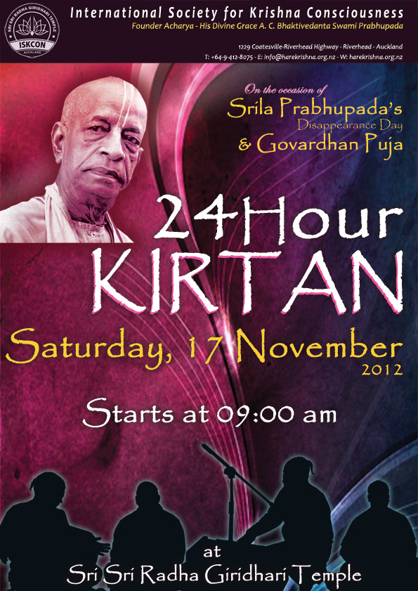 24 Hour Kirtan on 17th November-Disappearance Day of Srila Prabhupada/Govardhan Puja 2012