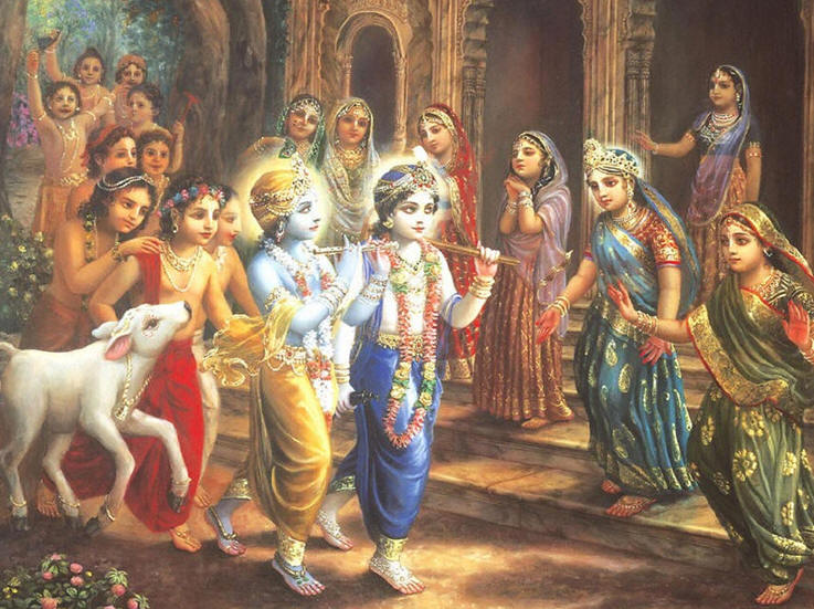 Sri-Sri-Krishna-Balarama-Radharani-and-the-gopis-and-Krishnas-cowherd-boyfriends-meet-during-their-return-from-the-pasturing-ground